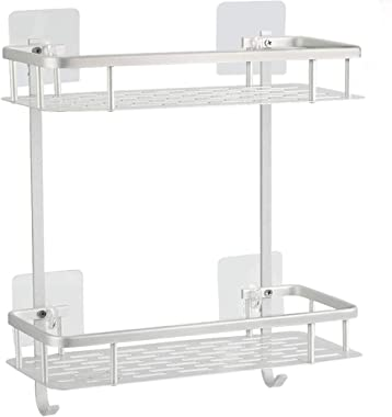 Hawsam No Drilling Bathroom Shelves, Aluminum 2 Tier Shower Shelf Caddy Adhesive Storage Basket for Shampoo (Square)