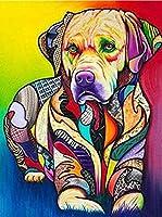5Dフルダイヤモンドダイヤモンド絵画クロスステッチ大人の子供初心者家族の装飾ギフト、クロスステッチラインストーン刺繡写真工芸品カラー犬Animals_30X40Cm-N