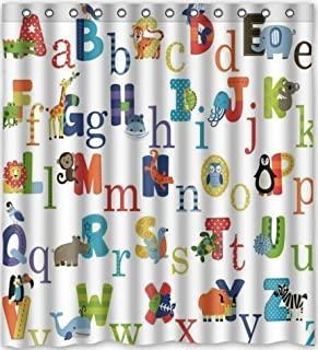 YEHO Art Gallery ABC Alphabet Waterproof Fabric Polyester Bathroom Shower Curtain 66