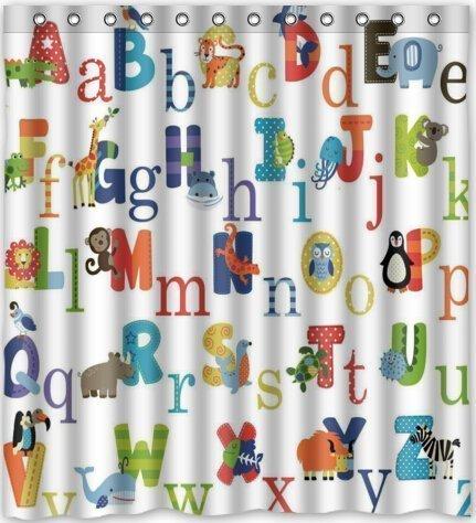 Duschvorhang Company ABC Alphabet Wasserdicht Stoff Polyester Badezimmer Dusche Vorhang 167,6cm (W) X 182,9cm (H)
