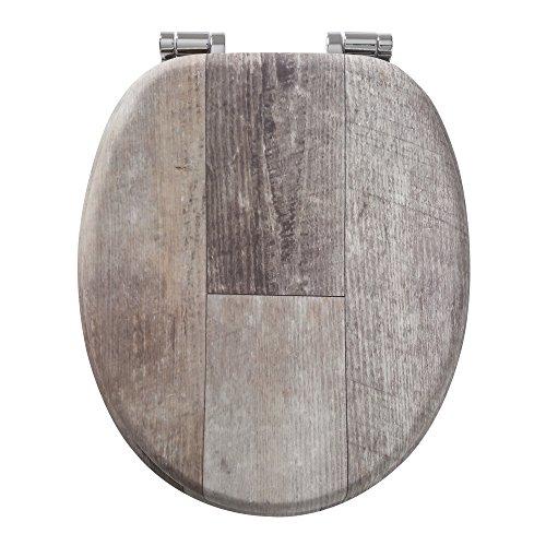 Tiger Toilettensitz Old Wood, WC-Sitz mit Absenkautomatik und Soft-Touch-Oberfläche, Holz, Farbe: Braun Vintage, Metallbefestigung