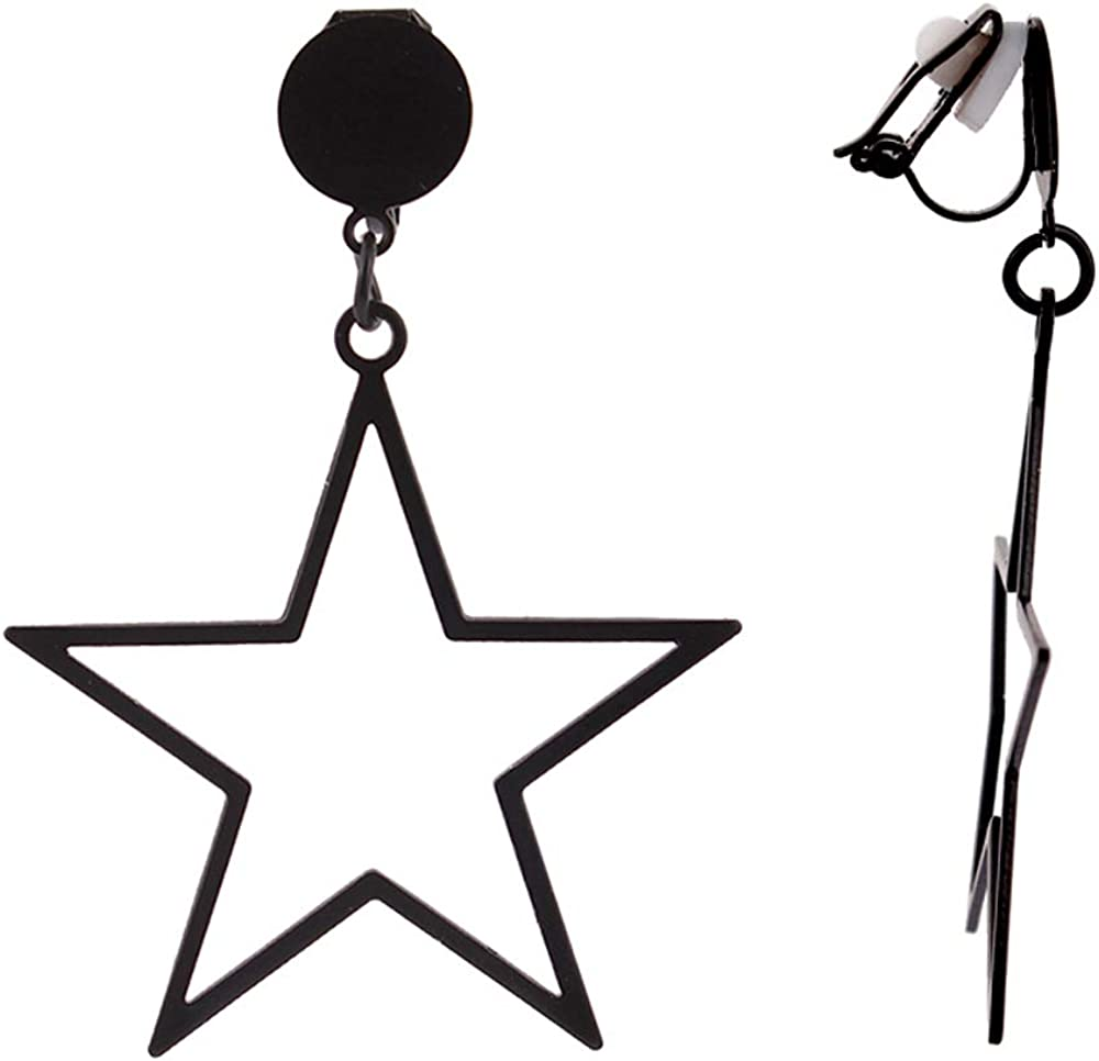 HAPPYAN 1-3Pairs Big Five-Pointed Starl Clip on Earrings No Pierced Luxury Fashion Lightweight Cuff Earrings