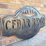 Ced454sy - Señal de metal vintage para granja de pinos, montañas, nombre familiar, año establecido, número de casa