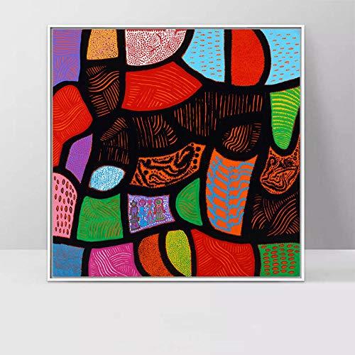 Cuadros Modernos Yayoi Kusama Pintura De La Lona Arte Abstracto De La Pared para El Restaurante Dormitorio Cuadros De Dibujos Animados para La Habitación del Bebé Imprimir 60 * 60 Cm Sin Marco