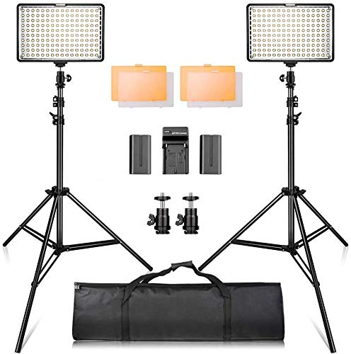 SAMTIAN LED Video Light Kit with 79''Adjustable Light Stand, 2-Pack Dimmable Photography Lighting with Carrying Bag, Batteries, New Led Light Panel for Product Portrait Video Shooting YouTube Facebook