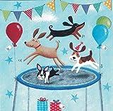 """""""Mila Marquis"""": Hunde auf einem Trampolin, Glitzer Größe: 14x14cm"""