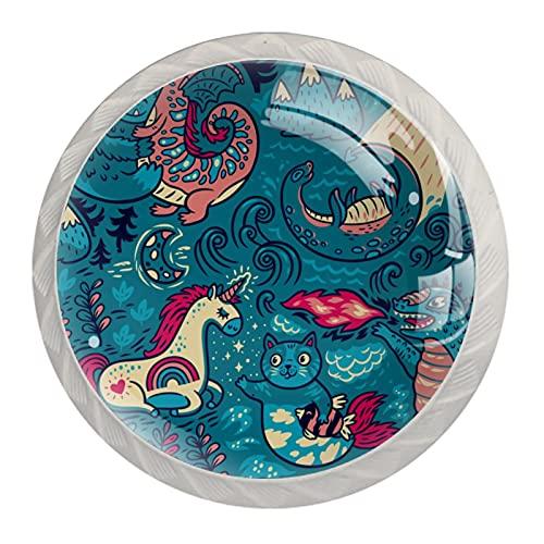 Gato Unicornio Dinasour Pomos de Muebles Cristal Perillas de Gabinete Decorativos Tiradores Redondas para Armarios, Puerta, Cajón y Cocina 4 Piezas 3.5×2.8cm
