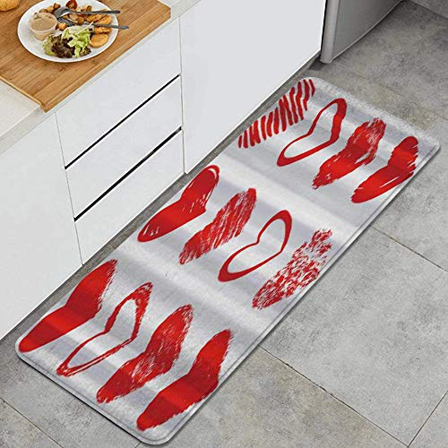 LISNIANY Alfombras para Cocina Baño de Cocina Absorbente Alfombrilla,Vector Rojo Dibujado a Mano Diferentes Corazones,para Dormitorio Baño Antideslizantes Lavables