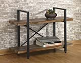O&K FURNITURE 2-Tier Rustic Wood and Metal Bookshelves, Industrial Style Bookcases Furniture,Vintage Brown