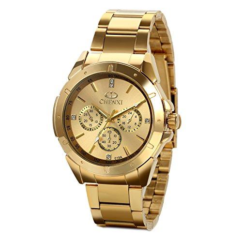 JewelryWe Reloj Dorado de Esfera Oro, Reloj de Caballero Cuarzo, 3 Subesferas de Decoración, Reloj de Hombre Acero Inoxidable, Todo Dorado