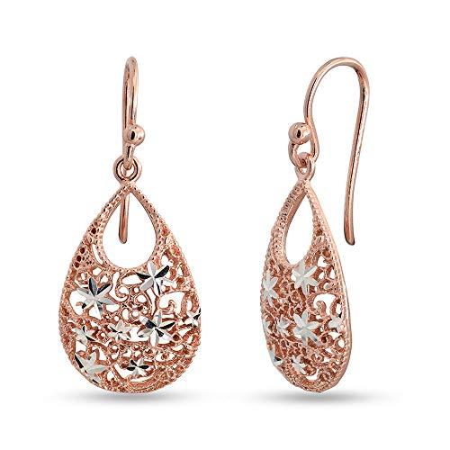 LeCalla Sterling Silber Schmuck Türkisch Doppel-Riss-Tropfen Rose-Gold-Diamant-Cut Ohrringe Stilvolle Arbeitskleidung für Frauen