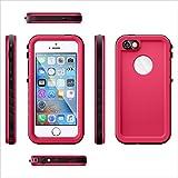 BasicStock Coque Étanche iPhone Se 5SE 5 5S, IP68 Waterproof Case Housse [Antichoc][Antipoussière] Robuste Munie d'Un Protège-écran Intégré pour iPhone Se 5SE 5 5S (Rose Vif)