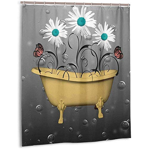 Cortina de ducha Tela verde azulado Coral Flores blancas azules Amarillo Bañera moderna Mariposas Cortina de baño con ganchos Conjuntos de cortinas de baño de tela resistente al agua (183cm x