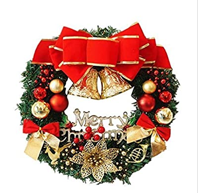 UChic 30cm Christmas Large Wreath Door Wall Hanging Ornaments Red Bowknot Jingle Bells Garland Decoration Gifts for Christmas Party Decor Front Door Wreath