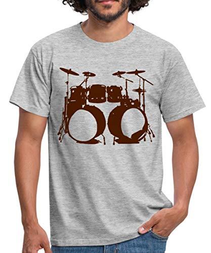 Schlagzeug, Drums, Drummer, Schlagzeuger, Musik, Instrument, Double bass Männer T-Shirt, M, Grau meliert