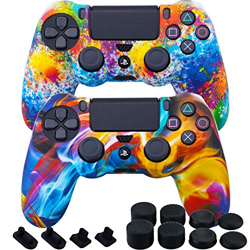 MXRC Silicone Rubber Cover Skin case Anti-Slip Water Transfer Customize Camouflage for PS4/SLIM/PRO Controller x 2(Rainbow Pack) + FPS PRO Extra Height Thumb Grips x 8 + Dustproof Plug x 4