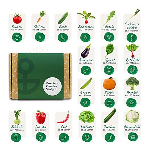 Bloomify® Premium Gemüse Samen Set, 18 Sorten Gartengemüse, hohe Keimungsrate | nachhaltig Gemüse (selbst) anbauen inkl. Pflanzenstecker & Anleitung | Gemüsesamen für Küche, Balkon & Garten Hochbeet