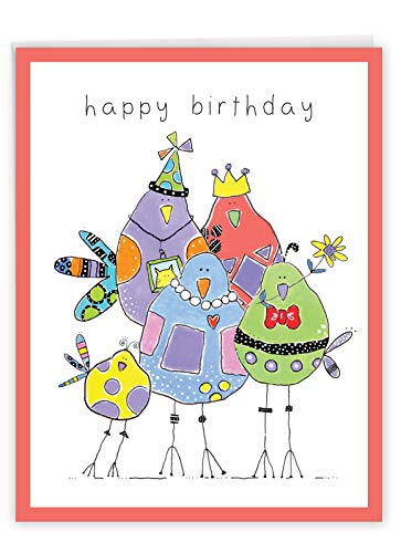 The Best Card Company Wordy Birdies - Birthday From Us Card with Envelope (Letterhead 8.5 x 11 Inch) - Artfully Sketched Fowl J3176IBDG-US