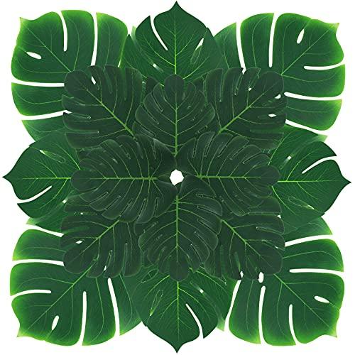 HAKACC Tropische Blätter, 34 Stück künstliche Palmenblätter Deko Dschungel Deko für Hawaii Party Hochzeit Dekorationen Tischdekoration