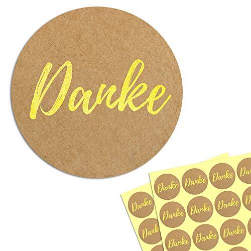 4cm Gold Danke Aufkleber Etiketten Sticker - 200 Stück