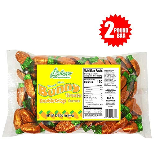 R.M. Palmer Parsnip Pete's Double Crisp Chocolate Flavor Carrots - 2 Lbs. - Individually Wrapped Easter Bulk Candy - Perfect For Gift Baskets - Delightfully Smooth and Crunchy