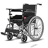 L-Y Rollstuhltransport Reisen Rollstuhl mit Eigenantrieb Tragbarer Kellner Schiebehilfe Abnehmbarer Leichter Klappwagen (Ausführung: Feste Krawatte), schwarz, Luftreifen