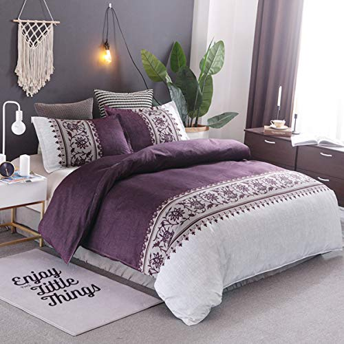 Purple Duvet Cover Double 3 Pieces Reversible Purple Beige Boho Printed Bedding Quilt Duvet Cover with Zipper Closure 2 Pillow Cases Soft Microfiber Bedding Double Size 200x200cm