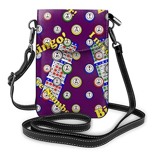 XCNGG Soft PU Leather Crossbody Bag Cell Phone Purse Wallet with Shoulder Strap Womens Crossbody Shoulder Tote Handbag Pouch (Bingo Dots Purple)