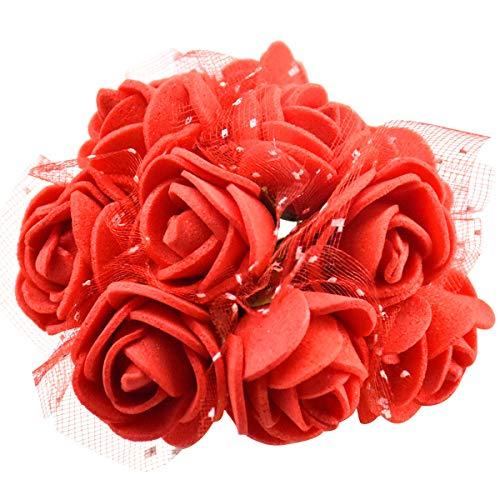 144 Stücke Stück Schaumrosen, Künstliche Foam Blumen mit Stiel, Foamrosen, Kunstblumen, Schaum Blumenköpfe Kunstblume Rosenstrauß für Hochzeit DIY Basteln Spielzeuge, 2cm (Rot)