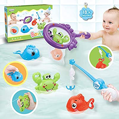 Dwi Dowellin Bath Toys Fishing Games with Fish Net BPA Free No Mold Squirt Fishes Crab Water Table Pool Bath Time Bathtub Toy for Toddlers Baby Kids Infant Girls Boys Age 1 2 3 4 5 6 Years Old by Dwi Dowellin
