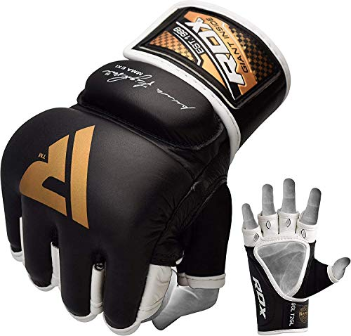 black, white and gold mma gloves