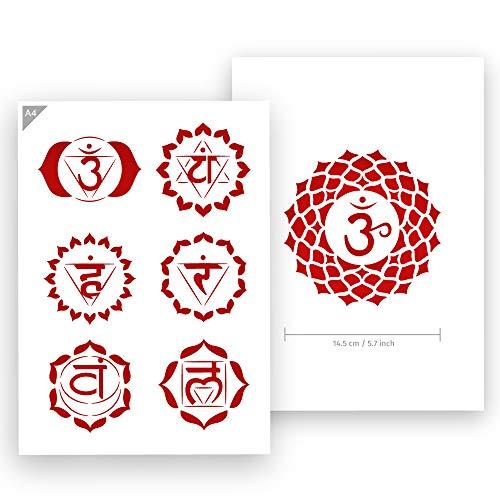 QBIX Chakra Schablone - Alle Chakras Schablone - Yoga, Meditation Schablone - A4 Größe - Wiederverwendbare kinderfreundliche DIY Schablone zum Malen, Backen, Basteln, Wand, Möbel