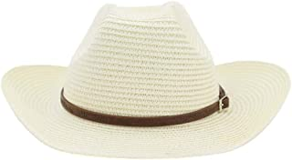 LiWen Zheng West 2019 Men And Women Cowboy Straw Hat Outdoor Straw Beach Hat Sunscreen Solid Color Narrow Leather Decoration Fashion Sun Hat Big Hat