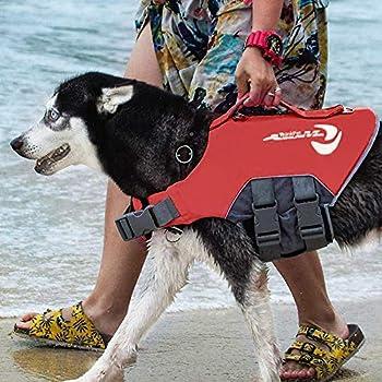 ThinkPet AdventureMore Gilet de Sauvetage réfléchissant pour Chien Gilet Flottant réglable Veste de sécurité