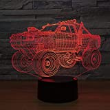 Luz de noche LED 3D Lámpara de vehículo todoterreno 7 colores que cambian Visual SUV Lámpara de mesa de luz de coche Interruptor de control táctil Luz de escritorio Regalo de fiesta
