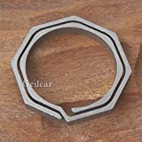 TIKING 1pc Titanium TC4 Ti Key Chain Octagon Key Ring Keychain CNC Size L 20mm 2.7g (Small:20mm)