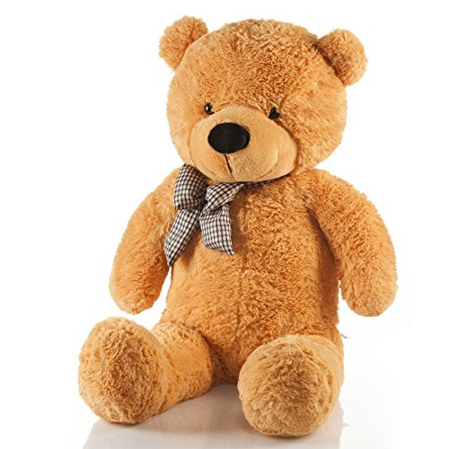 Feluna Riesen Teddybär XXL Kuschelbär 120 cm groß Plüschbär - Original Teddy Bär mit Schleife Hellbraun