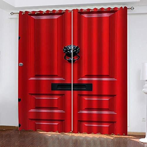 Evvsovs Impresión 3D Cortinas Puerta De Madera Vintage Roja Cortinas Térmicas De Salón Dormitorio Anti Ruido para Ventana De Habitaciones Infantiles Juveniles. 182 (Ancho) X214 (Alto) Cm