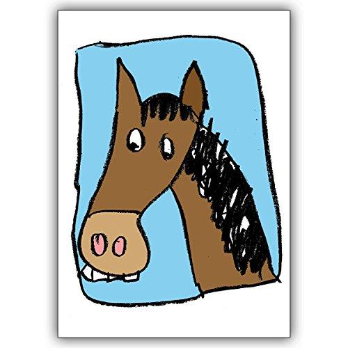 Wenskaarten met korting voor hoeveelheid: mooie wenskaart met grappig paard: niet alleen voor kleine meisjes • leuke wenskaart met envelop in premium kwaliteit 16 Grußkarten