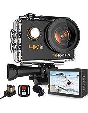 Yolansin Action Cam 4K Fotocamera 20MP 40M Impermeabile Super EIS Sport Camera con Grandangolo 170°HD DV Telecomando WiFi 2.4G Videocamera da Casco 2x1200 mAh Batterie Accessori Completi