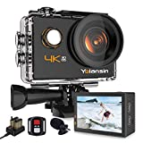 Yolansin 4K Action Camera 20MP 40M Waterproof EIS Sports Camera with 170° Wide Angle Ultra HD DV Camcorder with 2.4G Remote Control 2 Batteries Mounting Accessories