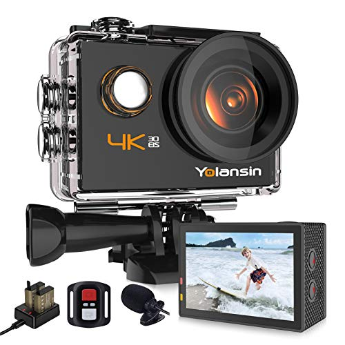 Yolansin 4K Action Camera 20MP 40M Waterproof EIS Sports Camera with 170° Wide Angle Ultra HD DV...