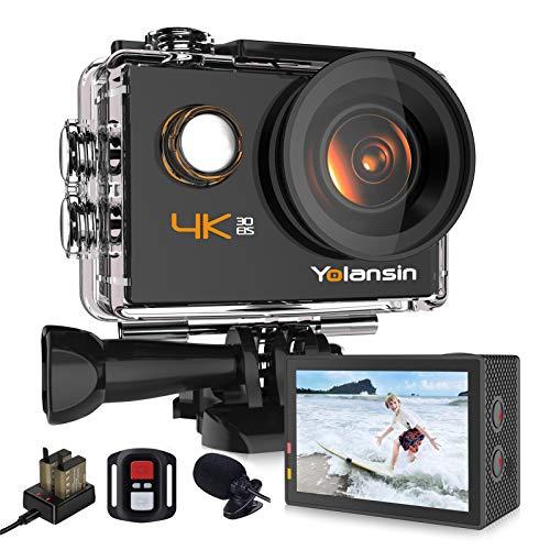 Yolansin 4K Action Cam WiFi 20MP 40M wasserdichte EIS Sportkamera mit 170 ° Weitwinkel HD DV Camcorder mit 2.4G Fernbedienung Helmkamer 2x1200mAh Akkus Unterwasserkamera