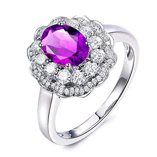 AueDsa Bagues Argent Femmes 925,Bague Amethyste Femme Fleur Ovale Cristal Améthyste Violet Blanc 7x9MM Taille 54