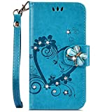 IKASEFU Compatible with Huawei Y6 2018 Case,Shiny butterfly Rhinestone Emboss Love shape Floral Pu Leather Diamond Bling Wallet Strap Case with Card Holder Magnetic Flip Cover For Huawei Y6 2018,blue