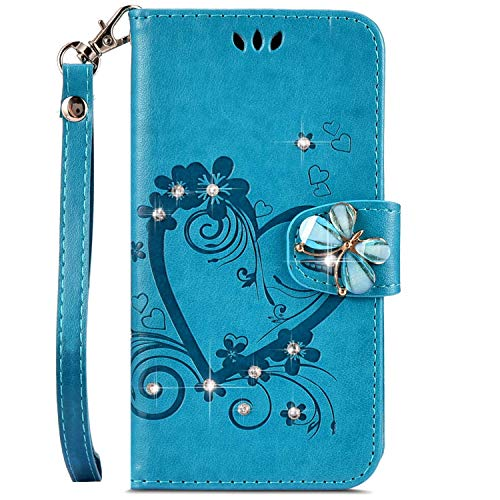 IKASEFU Compatible with iphone 6/6S 4.7 inch Case,Shiny butterfly Rhinestone Emboss Love Floral Pu Leather Diamond Bling Wallet Strap Case with Card Holder Magnetic Flip Cover For iphone 6/6S,blue