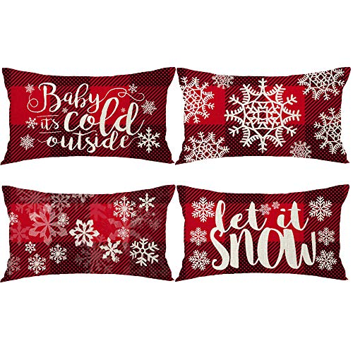 Bnitoam Set of 4 Merry Christmas Greetings Snowflake Let It Snow Best Gift for Holiday Lumbar Cotton Linen Decorative Throw Pillow Cover Cushion Case for Outdoor Bed Sofa Family 12x20inches (Plaid4)