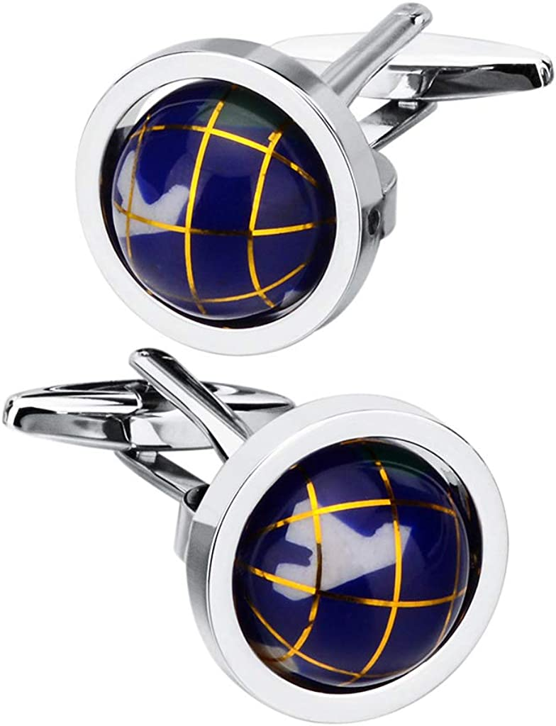 SAVOYSHI Rhodium Plated Spins Blue Globe Earth Cufflinks for Men French shirt Accessories with a Gift Box