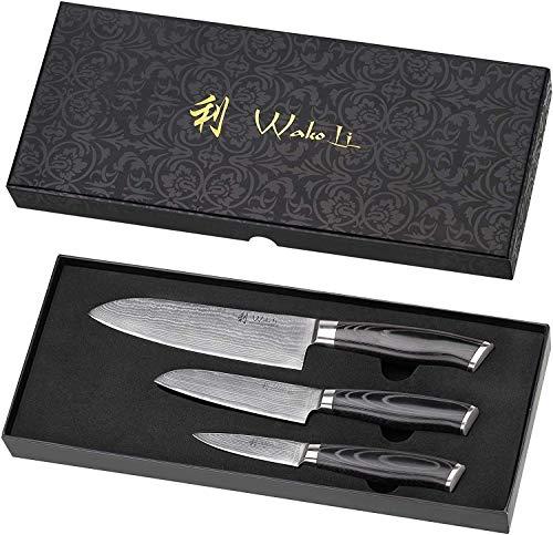 Wakoli Mikata Damastmesser Profi Set, sehr hochwertige Japanische Kochmesser, rasiermesserscharfe Klinge, 3 Damast Küchenmesser VG-10