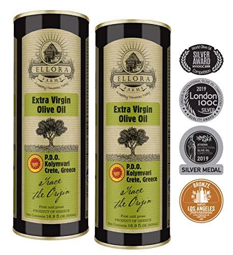 Ellora Farms | Single Origin & Single Estate | Traceable Olive Oil | First Cold Extraction | Protected Designation of Origin | Born in Ancient Crete, Greece | 16.9 oz. PDO Tins | Pack of 2